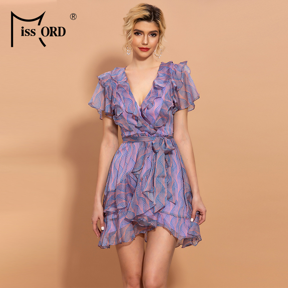Missord 2020 Women Sexy Deep-V Neck Short Sleeve Dots Print Ruffle With Belt Dress  TH0189