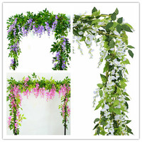 2x 7FT Artificial Wisteria Vine Garland Plants Foliage Trailing Flower flowers Outdoor home office hotel decor
