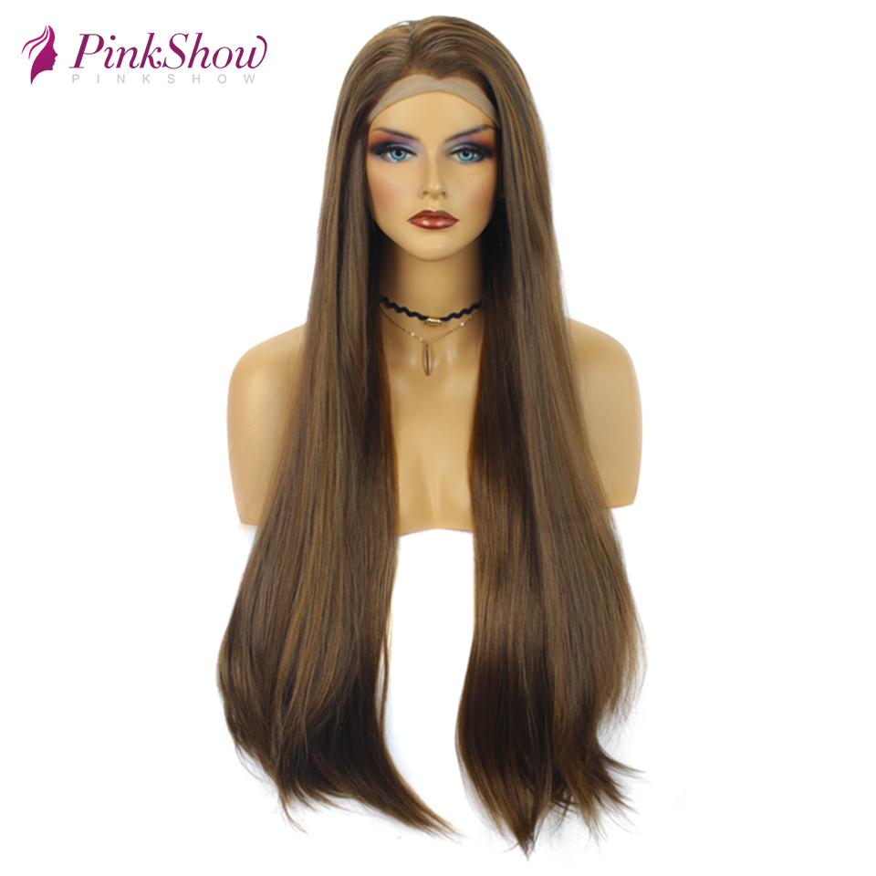 Pinkshow Long Wigs For Women BrownStraight Hair Synthetic Lace Front Wig Heat Resistant Fiber 30 inches Daily Wig