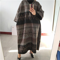 SuperAen Fashion Women Wool Long Dress Autumn and Winter New 2020 Ladies Dress V Neck Long Sleeve Casual Women Clothing