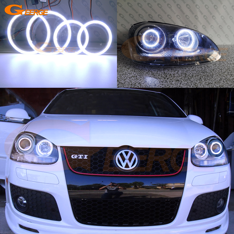 For Volkswagen VW Golf Rabbit Jetta GTI R32 MKV MK5 2005-2010 Excellent DRL Ultra Bright COB Led Angel Eyes Halo Rings