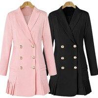 Платье костюмы для женщин длинный Блейзер Куртка Подиум дизайнер двубортный офисный женский элегантный плиссированный мини-платье размер...