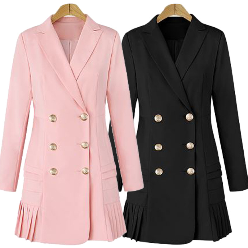 Dress Suits For Women Long Blazer Jacket Runway Designer Double Breasted Office Ladies Elegant Pleated Mini Dress Plus Size XXXL