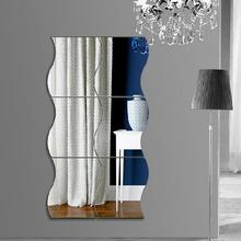 6Pcs Wavy Mirror Wall Stickers,Home 3D Art DIY Decorative Acrylic for Living Room Bedroom Sofa TV Setting