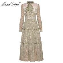 MoaaYina Fashion Designer dress Spring Summer Women's Long sleeve Lace Patchwork Lurex Mid-length Dresses
