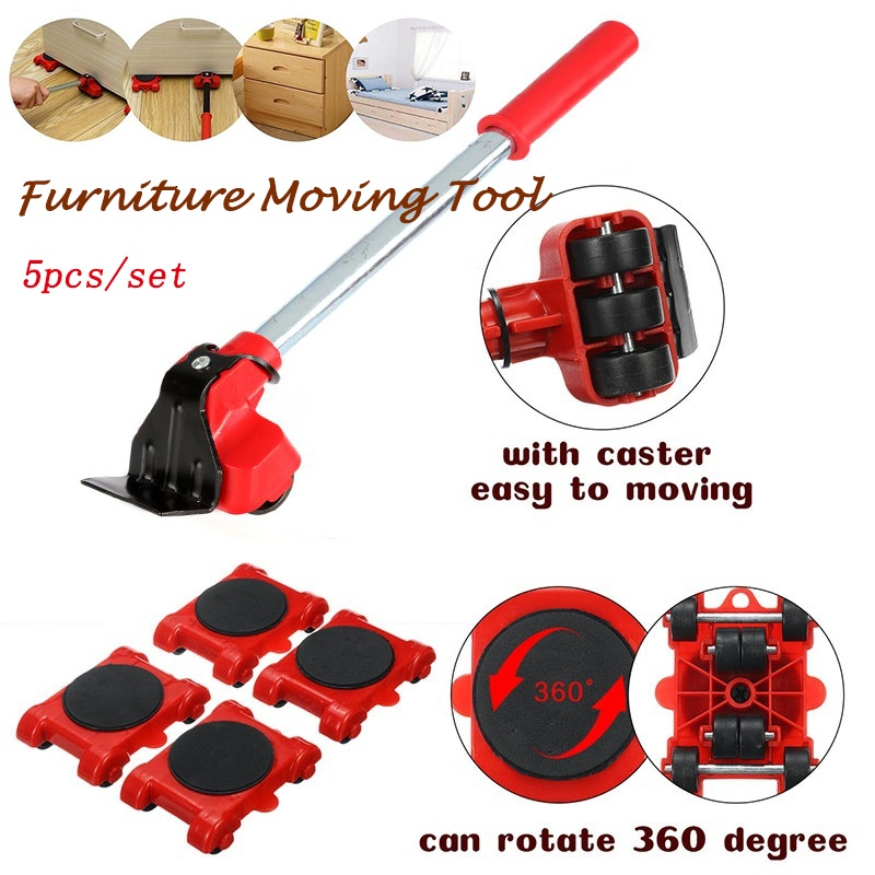 New Heavy Duty Furniture Lifter Transport Tool Furniture Mover set 4 Move Roller 1 Wheel Bar for Lifting Moving Furniture Helper-1