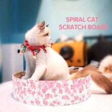 Gato scratch board ondulado redondo scratcher pot sakura coçar almofada lounge cama gatos sofá para moagem prego proteger móveis