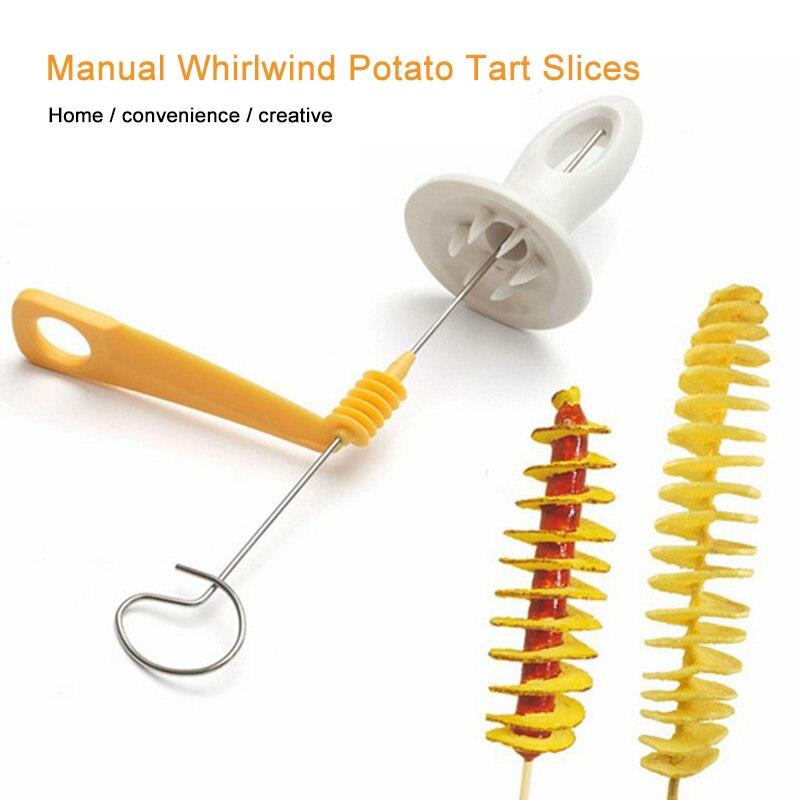 1 шт. спиральный резак для картофеля Tornado, слайсер из нержавеющей стали, пластиковый, для жарки картофеля, кухонные инструменты, вращающийся ...