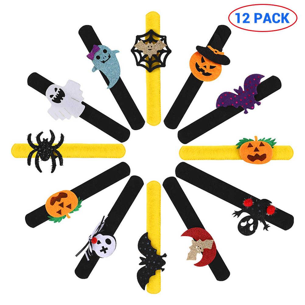 12 Chiếc Halloween Vòng Tay Tát Trẻ Em 21*2.5Cm Mới Lạ Tát Vòng Tay Quấn Dây Bí Ngô Ma Bát Nhện Tát ban Nhạc Đồ Chơi