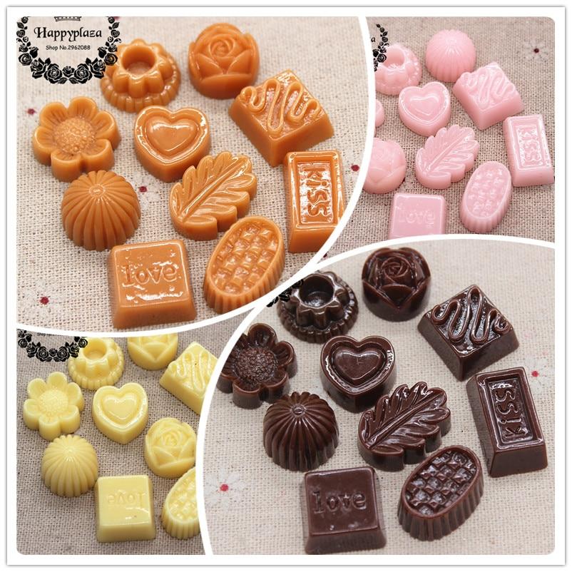 10pcs Mix Designs New Resin Pink/Cream/Brown Chocolate  Simulation Food Art Flatback Cabochon DIY Craft Decoration