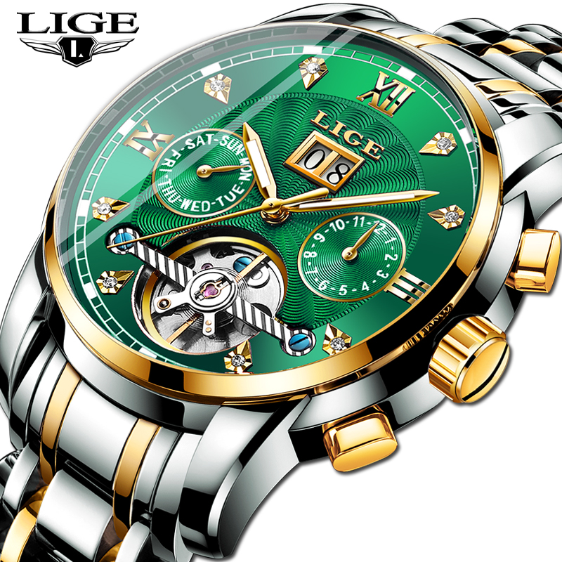 2019 LIGE New Green Business Mens Watches Top Brand Luxury LIGE Tourbillon Sport Mechanical Watch Men Fashion Automatic Watch