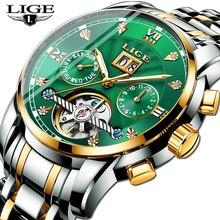 Mens Watches Mechanical-Watch Sport Top-Brand Green Business Tourbillon Luxury LIGE Fashion