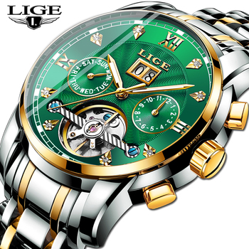 2019 LIGE New Green Business Mens Watches Top Brand Luxury Tourbillon Sport Mechanical Watch Men Fashion Automatic