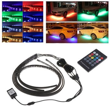 RGB LED Strip Under Car Tube Underbody Underglow Glow System Neon Light Remote X6HF image