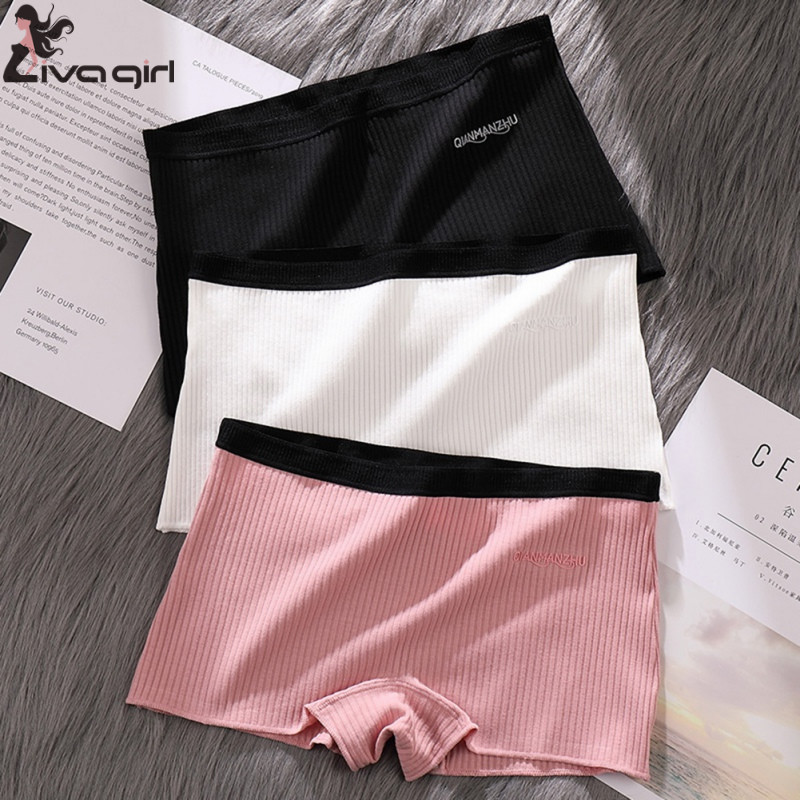 Women Safety Shorts Pants Seamless Thread Mid Waist Panties Anti Emptied Boyshorts Underpants Girls Slimming Underwear 1