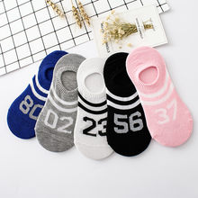 letter print Women Comfortable Number Cotton Sock lady girls Slippers Short Ankle Socks Candy color socks invisible boat socks(China)