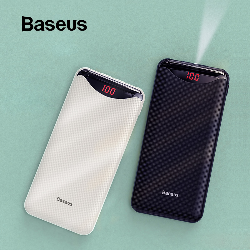 Baseus Slim 10000mAh Power Bank Dual USB Powerbank With Flashlight  For IPhone 11 Pro Samsung Mini Portable External Battery