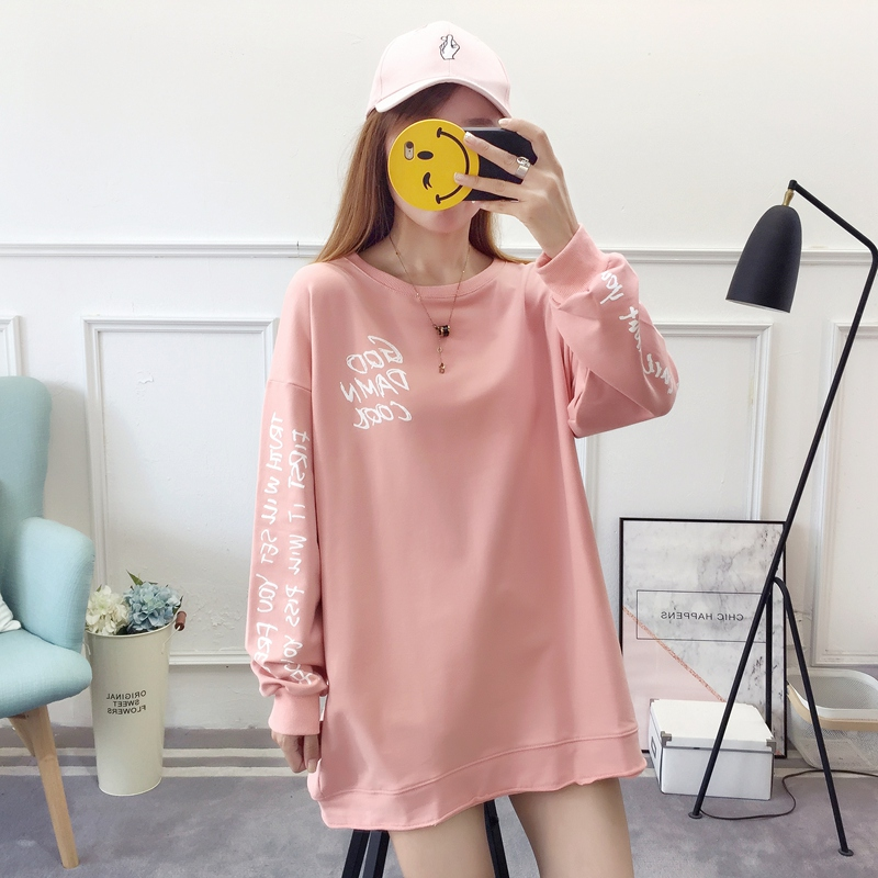 2019 autumn new Korean version of the XL T-shirt women's thin section long-sleeved loose hole wild T-shirt shirt women 71
