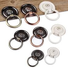 Vintage gabinete tocador cajón perilla armario gota anillo manija Vintage cajón perillas bronce cobre blanco tirador redondo anillos manijas