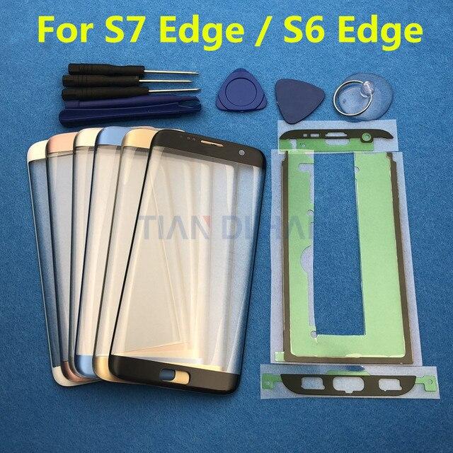 Yedek Harici Cam Samsung Galaxy S7 Kenar G935 S6 Kenar G925F dokunmatik LCD ekran Ekran Ön Cam Dış Lens