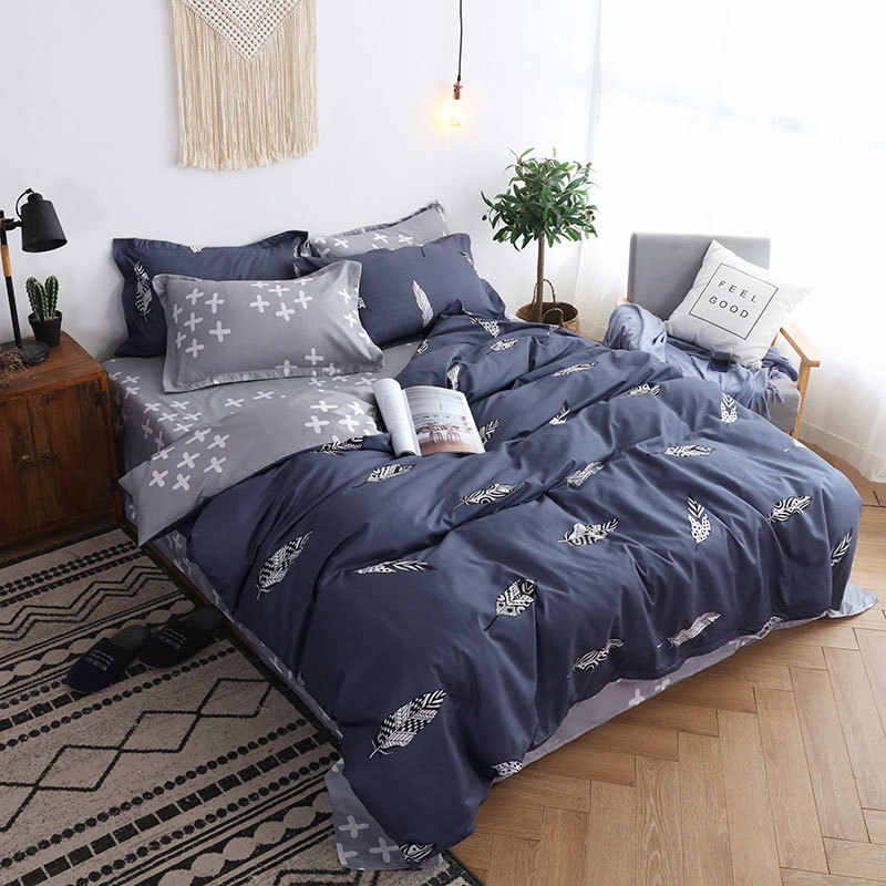 Feather 4pcs Kid Bed Cover Set Cartoon Duvet Cover Adult Child Bed Sheets And Pillowcases Comforter Bedding Set 2TJ-61005