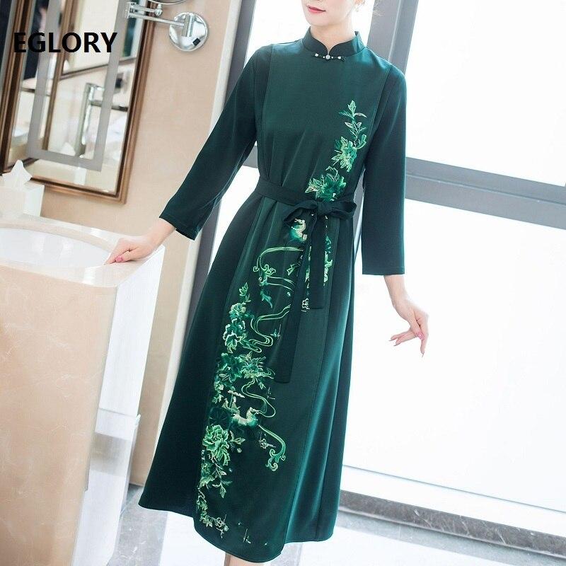 Vestidos Feminino 2019 automne élégant 50s 60s robe femmes exquise broderie à manches longues mi-mollet longueur Vintage robe verte