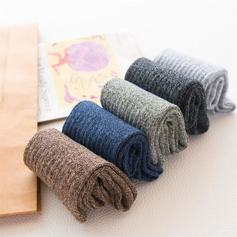 1 Pair Of Fashion Socks Men's Autumn Thick Thick Line Tube Cotton Breathable Socks Solid Color Socks