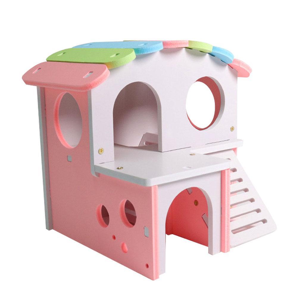 Rainbow Double Deck Rat Squirrel Hamster Nest House Villa Cage Small Pet Toy 17cm X 15.5cm X 14cm