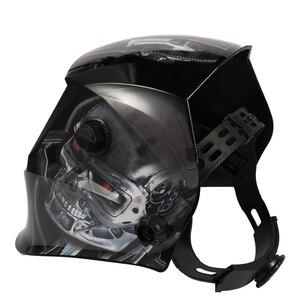 Novo crânio preto energia solar automático luz variável máscara de soldagem tig capacete de soldagem a ponto com botão cabeça ajustável