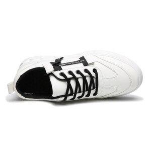 Image 4 - 2019 Mannen Schoenen Pu Leer Effen Trainers Schoenen Ademende Lace Up Witte Schoenen Mannen Zapatillas Hombre Casual Schoenen Mannen
