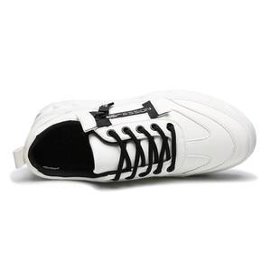 Image 4 - 2019 Men Shoes Pu Leather Solid Trainers Shoes Breathable Lace Up White Shoes Men Zapatillas Hombre Casual Shoes Men