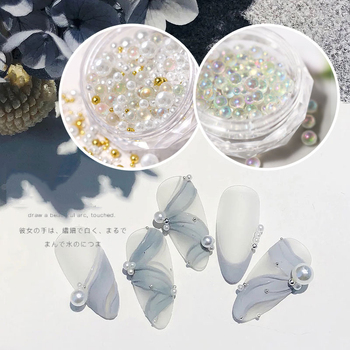 1box Tiny AB Crystal Rhinestones for Nails Shiny Caviar Beads Micro Glass Balls Mix Size Charm Pearls Holo Nail Art Decorations