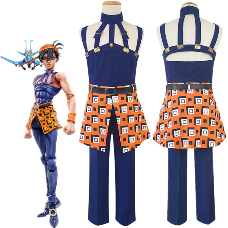 JoJo's Bizarre Adventure Narancia Ghirga Cosplay Costume Halloween Top Pants Belt Headwear