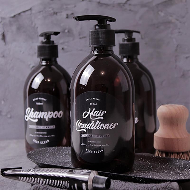Shampoo Bottle Bathroom Dispenser Body Wash Hair Conditioner Dispenser Brown Plastic Bath Set Lotion Storage Jar