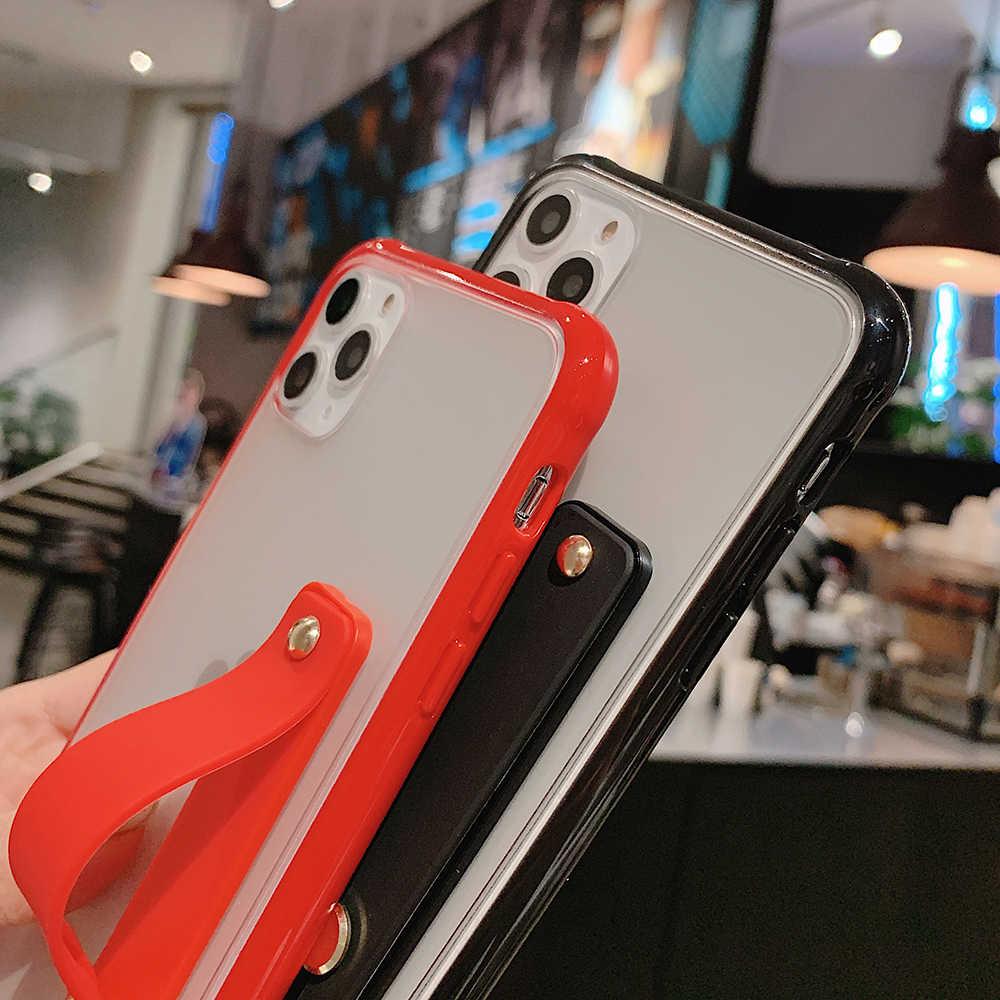 Trasparente Del Respingente Antiurto Cassa Del Telefono per Il Iphone 11 11 Pro Max Xr Xs Max X 8 7 6 6S più Cinghia di Polso Del Basamento Dura Del Pc Della Copertura Posteriore