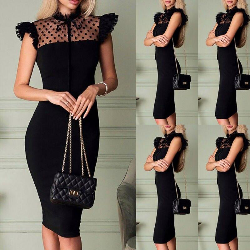 Women's Elegant Lace Polka Dot Bodycon Midi Dress Sexy Black Slim Party Evening Casual Sundress