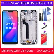 """5.84 """"قطع غيار للشاشة ل Xiao mi mi A2 لايت شاشة الكريستال السائل و محول الأرقام بشاشة تعمل بلمس الإطار الجمعية مجموعة ل الأحمر mi 6 برو"""