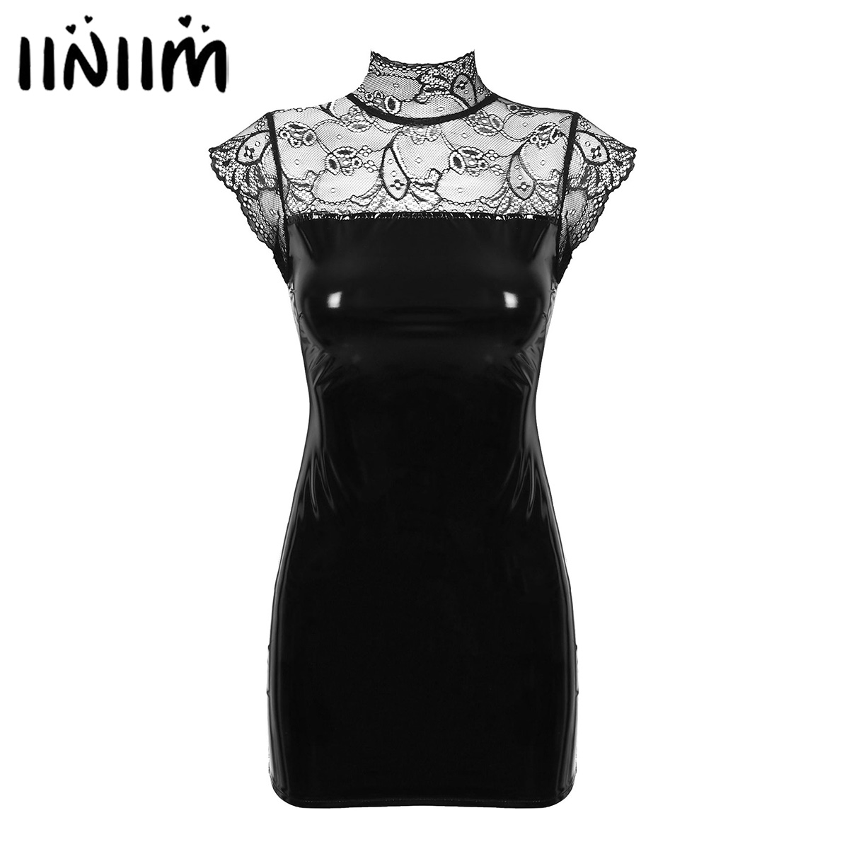 Womens Wet Look Mini Dress Lace Patchwork Leather Front Zipper Bodycon Cocktail Party Clubwear Pole Costumes Ladies Sexy Dress