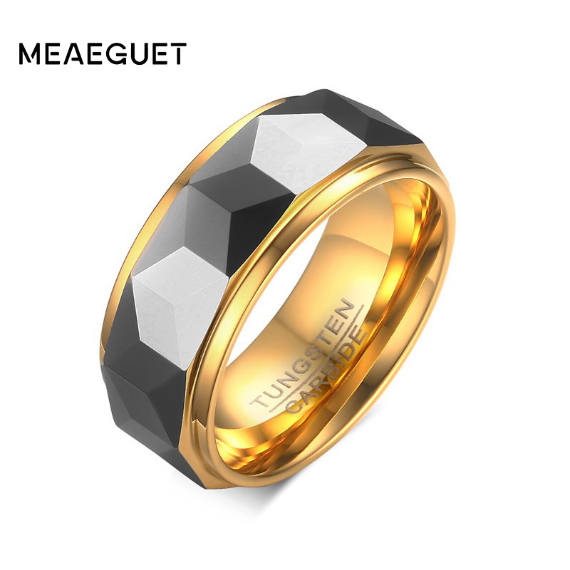 Meaeguet 8mm Ring Wide Faceted Cut Geometric Tungsten Carbide Wedding Rings For Men Jewelry Male Anillos