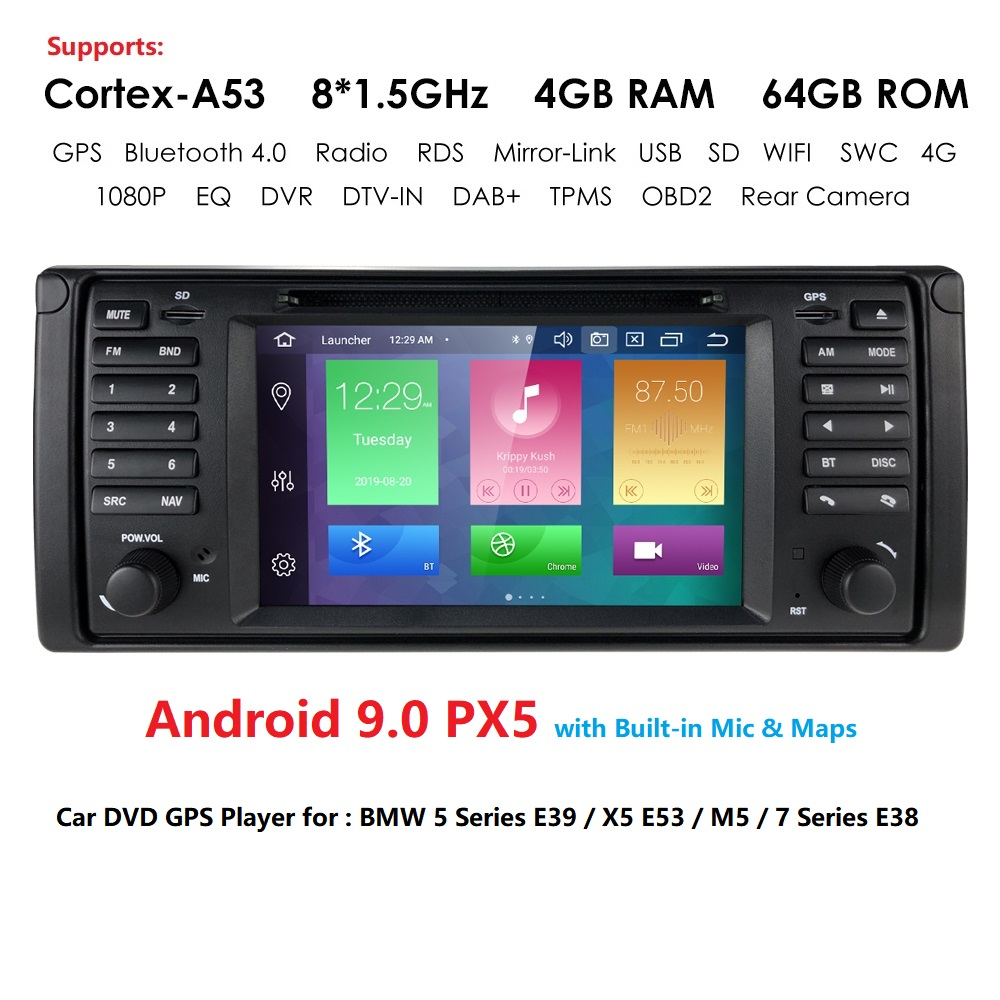 HD 1din Android 9.0 4G RAM 64G ROM Car DVD PLAYER For <font><b>BMW</b></font> X5 E53 <font><b>E39</b></font> GPS stereo audio navigation multimedia screen head unit mic image