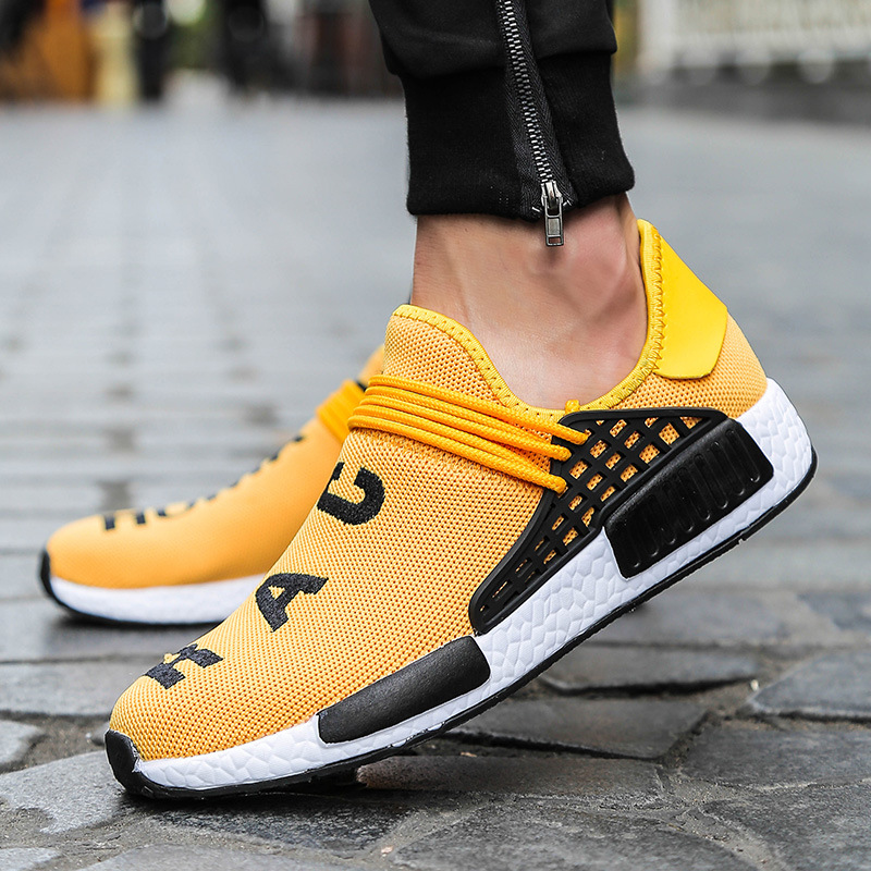 MOD High Top Breathable Casual Men&Women Shoes Men's Street Fashion Fly Human Race Woven Sneakers Yellow Lace-Up Big Size Shoes