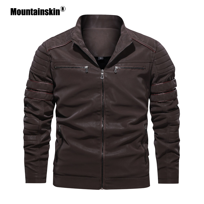 Mountainskin Men's Leather Jackets Autumn Winter Motorcycle PU Jacket Male Biker Leather Coats Mens Brand Clothing EU Size SA870