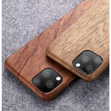 Para iPhone 12 11 /11 Pro/11 Pro Max walnut Enony Rosewood caoba Real Wood Mochila clásica Hard Slim Case Cover