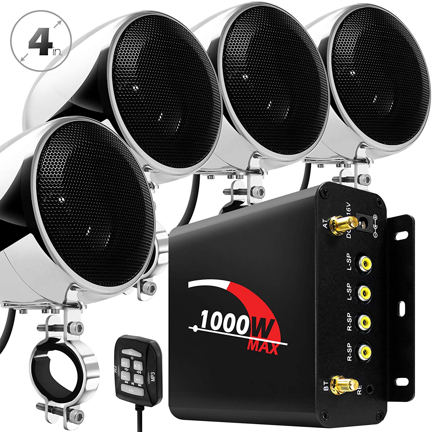 Aileap 1000W Motorcycle Audio 4 Channel Amplifier Speakers System Support Bluetooth AUX FM Radio SD Card USB Stick  Chrome