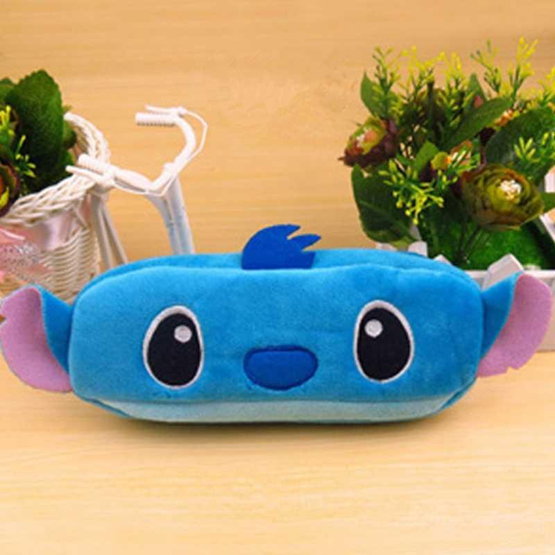 Moda karikatür köpek kadife peluş kılıfı depolama çanta kalem kutusu kalem çantası cüzdan kırtasiye kalem kutusu makyaj kozmetik çantası