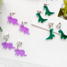 Милый изысканный акриловый динозавр животные серьги-гвоздики для панков вечерние японские серьги для женщин модные ювелирные изделия бижутерия
