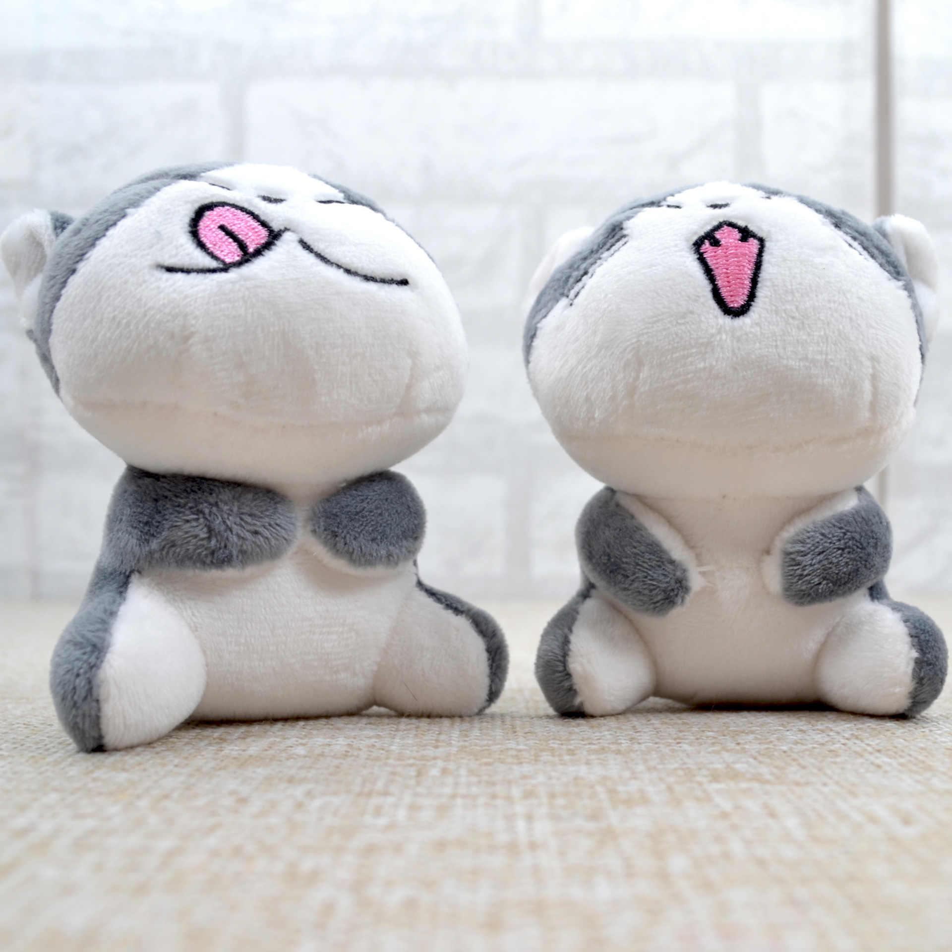 9CM Kawaii 부드러운 인형 고양이 인형 고양이 열쇠 고리 회색 앉아 고양이 플러시 인형 장난감 꽃다발 선물 플러시 장난감 꽃 고양이 인형 선물