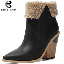BONJOMARISA New Big Size 34-43 Brand Pointed Toe Booties Ladies Winter Warm Chelsea Boots 2019 High Chunky Heels Shoes Woman