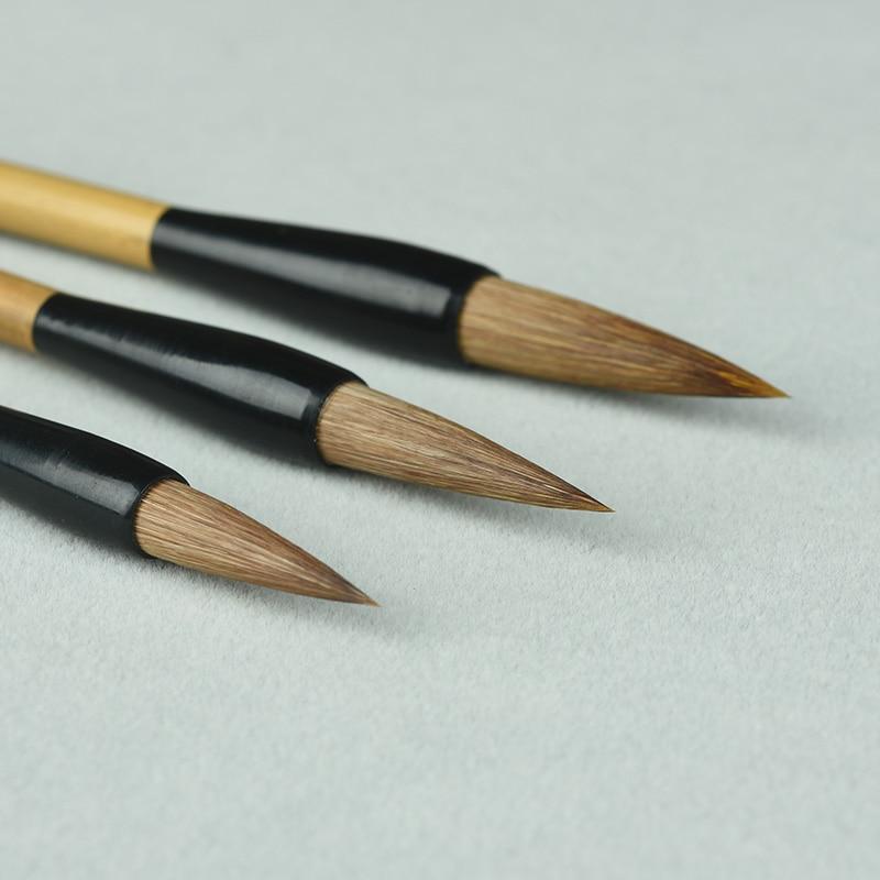 3pcs Chinese Writing Brush Pen Weasel Hair Hook Line Calligraphy Brush Chinese Bird Landscape Ink Painting Brush Pen Set