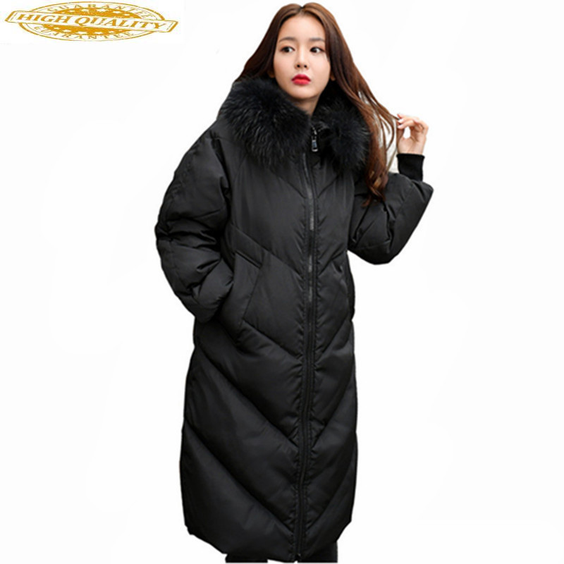 Women's Down Jacket Raccoon Fur Collar Coat Female Duck Down Parka Thick Winter Jacket Women Plus Size 5XL Casaco WXF481